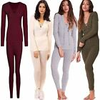 Womens Ribbed Lace Up Tracksuit Ladies Relaxed Loungewear 2 Piece Set Joggers