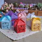 50Pcs/lot Sweet Wedding Party Favor Lovebirds Paper Candy Gift Boxes With Ribbon