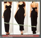 XS-2XL New Womens Cocktail Party spagetti strap pleated Maxi Long Dresses BLACK