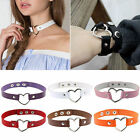 Women's Fashion Punk Goth Leather Rivet Heart Ring Collar Choker Funky Necklace