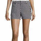 Stylus Twill Cotton Shorts Geometric Black/White Multi Size 16 New With Tags
