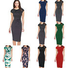Womens Floral Slim Stretch Cap Sleeve Party Sheath Pencil Dress Midi Dress