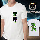 Overwatch OW Genji icon white black Cotton Tshirt Crew Neck Short Sleeve tee