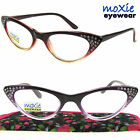 READERS WOMEN'S Cat Eye SPRING HINGES moXie Brown, Pink, Purple READING GLASSES