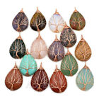 Natural Gemstones Tree Of Life Drop Healling Reiki Beads Pendant 30x40mm