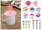Anti-dust Glass Coffee Cup Cover Mug Suction Seal Lid Silicone Cartoon Airtight