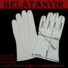 LEATHER DRUM MAJOR'S GAUNTLET GLOVES WHITE WITHOUT  CUFF BAND GLOVES S,M,L,XL