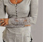 New  Fashion Long Sleeve Shirt Casual Lace Blouse Loose Cotton Tops T Shirt