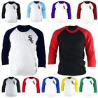 Mens Chicago White Sox 3/4 Sleeve Raglan Baseball Jersey TShirt Tee Top Lc