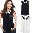 Women's Sexy Sleeveless Chiffon Solid Pattern Casual Tops Blouses Shirt