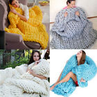 Warm Chunky Knit Blanket Thick Yarn Merino Wool Knitted Throw Photography Props