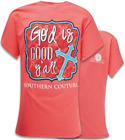 Southern Couture Womens Christian T-Shirt: God is Good Yall | Coral with Cross
