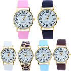 Women Girls Leopard Leather Band Stainless Steel Analog Quartz Wrist Watch New