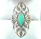 Victorian Style Filigree, Turquoise 925 Sterling Silver Ring