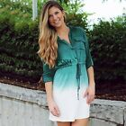 Fashion Women Gradient Color Shirtdress Mini Dress Blouse Dress Long Tops TXSU