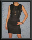 Black Brocade PU Leather Panelled Sleeveless Tailored BodyCon Cocktail Dress