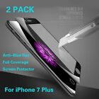 2x For iPhone 7 Plus Anti Blue-Ray Full Cover 9H Tempered Glass Screen Protector