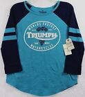 NWT Lucky Brand Triumph Motorcycles Worlds Fastest Teal/Navy 3/4 Sleeve T-Shirt $14.39 USD