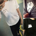 Personality Men Women Funny Pocket Cat Cute Kawaii Couples T Shirt Tops Blouse