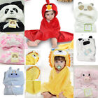 Soft Baby Kid Toddler Cartoon Towel Wrap Hooded Bath Robe Bathrobe Gown NEW