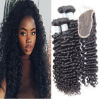 3 Bundles Brazilian Human Hair Weaves Extensions 50g/pcs Curly Wave with Closure