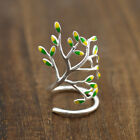 925 Sterling Silver Tree Of Life Leaves Branch Adjustable Wrap Ring A3295