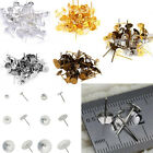 100pc 6mm Stainless Steel Flat Pad Post Stud Earring Charm Jewelry Findings