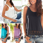Women Summer Lace Vest Sleeveless Shirt Blouse Ladies Casual Tank Tops T-Shirt