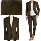 2BT BROWN Suede Men s Formal Suits Wedding Prom Groom Slim Fit Suit Sale UK
