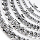 3~19mm MENS Boys Chain Silver Tone Curb Link Stainless Steel Necklace 14-45''