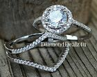 925 Sterling Silver Round Diamond cut Engagement Ring Wedding Band Set Sz 4-9