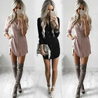 New Women's Fashion Loose Casual Long Sleeve Shirt Blouse Tops Shirt Mini Dress