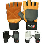 Weight Lifting Leather Gloves Gym Training Fitness Power Gloves Wrist Wrap