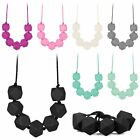 Chain Baby Silicone Teething Necklace Teether Charm BPA Free Beads Polygon