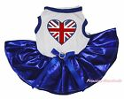 Union Jack Heart 4th July White Top Bling Blue Skirt Cat Pet Dog Puppy Dress Bow