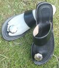 100% MOROCCAN LEATHER  TOE POST SANDALS BLACK * 5 sizes available