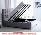 **New Modern Cube Ottoman Storage Gas Lift Up Bed Frame In Crush Velvet Fabric**