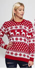 New Ladies Christmas Xmas Jumper Red White Reindeer Snowflake Pattern S-M M-L