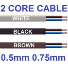 2 Core Flat Cable 3amp 0.5mm Flex 6amp 0.75mm PVC Wire 1m 100m 2192Y Black White
