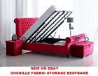 *New Modern Sleigh Ottoman Storage Gas Lift Up Bed Frame In Chenille Fabric*