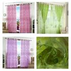 1x Floral Flower Tulle Voile Door Window Curtain Drape Panel Sheer Scarf Valance