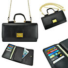 2x Genuine Black Leather Purse Shoulder Bag Wallet w/ Chain Strap for Smartphone