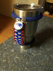 Handmade Paracord handle for Yeti or RTIC tumbler in N.E. Patriots colors