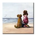 Girl With Her Dog on the Beach Art Tile Print on Ceramic with Her Dog