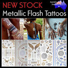 NEW Flash Tattoos Gold Metallic Body Art Fashion Henna Jewellery Bracelet Rings