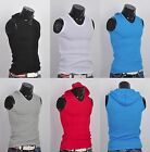 New mens sleeveless hoodie T-shirt hooded tank top cotton hoodies tee S M L XL