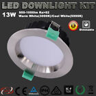 6X13W 90MM CUTOUT SATIN CHROE LED DOWNLIGHTS KITS DIMMABLE COOL / WARM WHITE