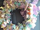 HANDMADE EASTER RAG WREATH-CUTE CHICKS AND BUNNIES!