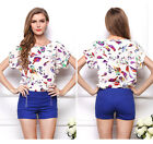 New Women's Colorful Birds Chiffon Loose Party Short Sleeve T Shirt Tops Blouse