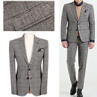 BEIGE GRAY Men s Casual Checked Formal Suits Wedding Groom Prom Slim Fit Suit UK